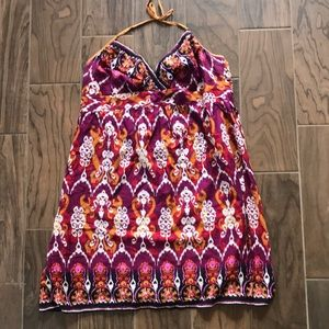 Colorful Ikat Print Halter Dress
